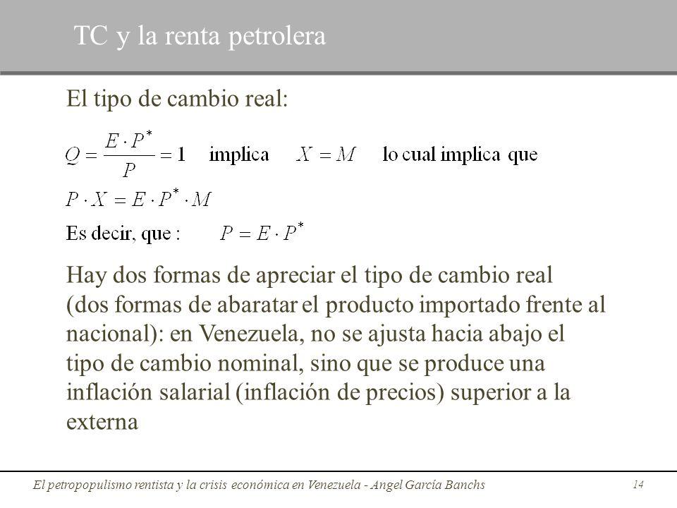 El tipo de cambio real: Hay dos formas de apreciar el tipo de cambio real (dos formas de abaratar el producto importado frente al nacional): en Venezu
