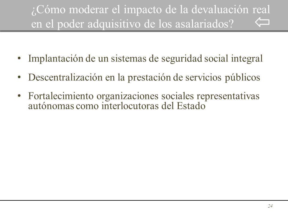 Implantación de un sistemas de seguridad social integral Descentralización en la prestación de servicios públicos Fortalecimiento organizaciones socia