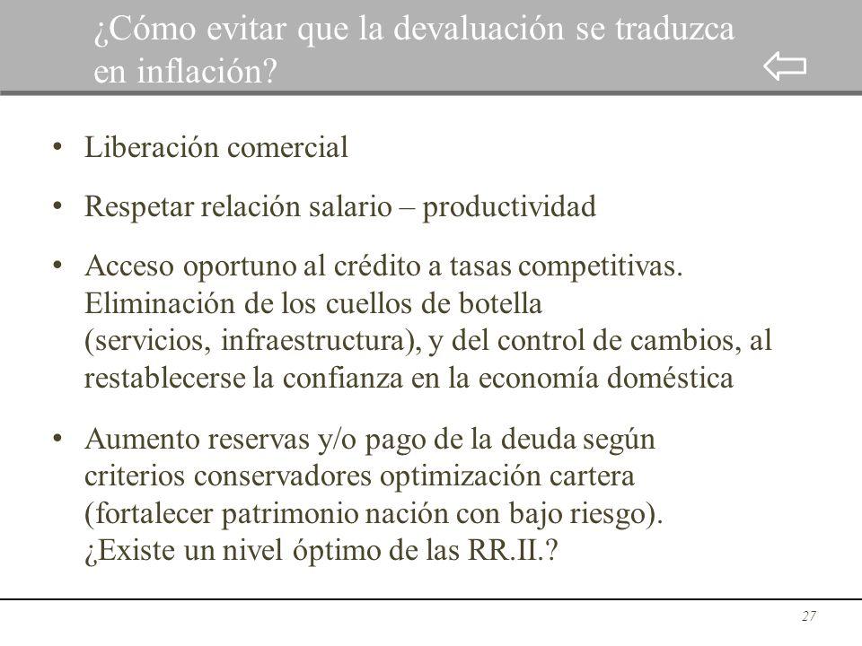 Liberación comercial Respetar relación salario – productividad Acceso oportuno al crédito a tasas competitivas. Eliminación de los cuellos de botella