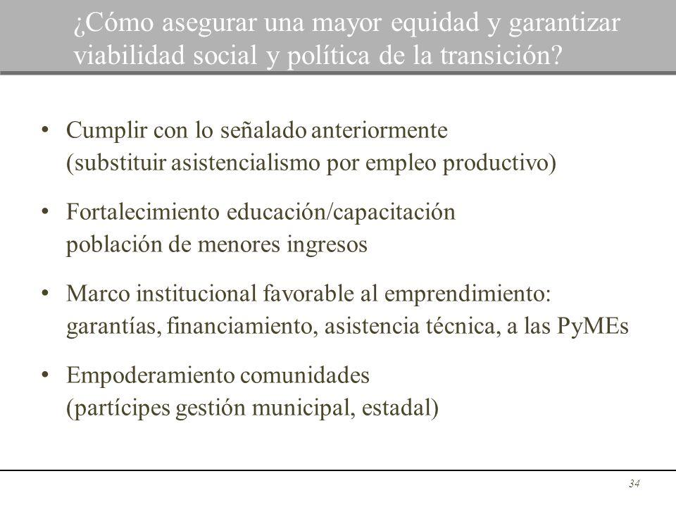 Cumplir con lo señalado anteriormente (substituir asistencialismo por empleo productivo) Fortalecimiento educación/capacitación población de menores i