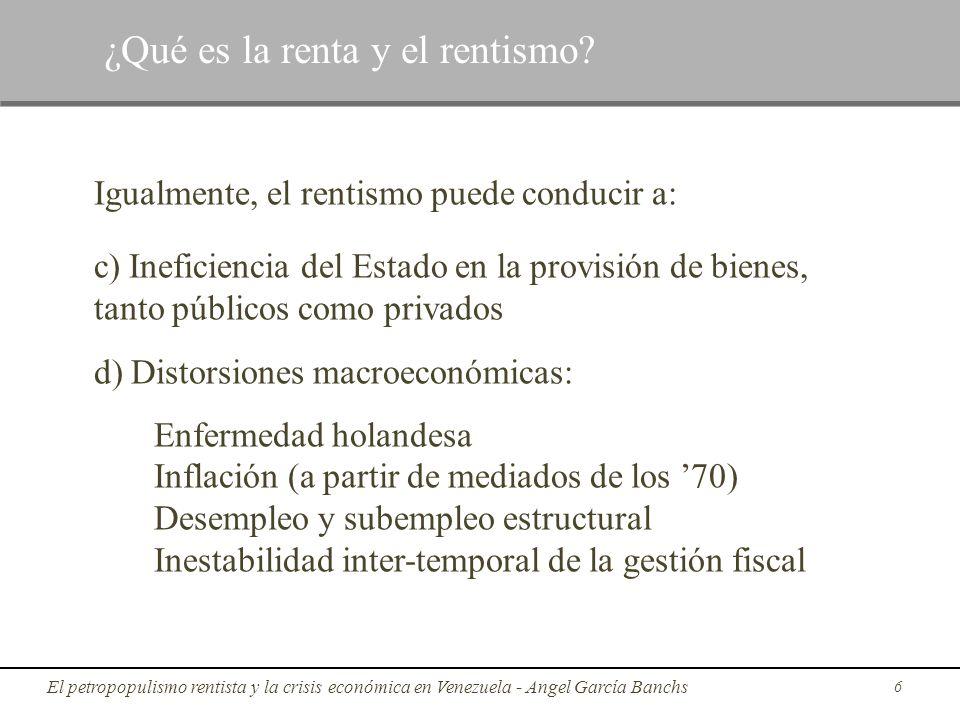 Igualmente, el rentismo puede conducir a: c) Ineficiencia del Estado en la provisión de bienes, tanto públicos como privados d) Distorsiones macroecon