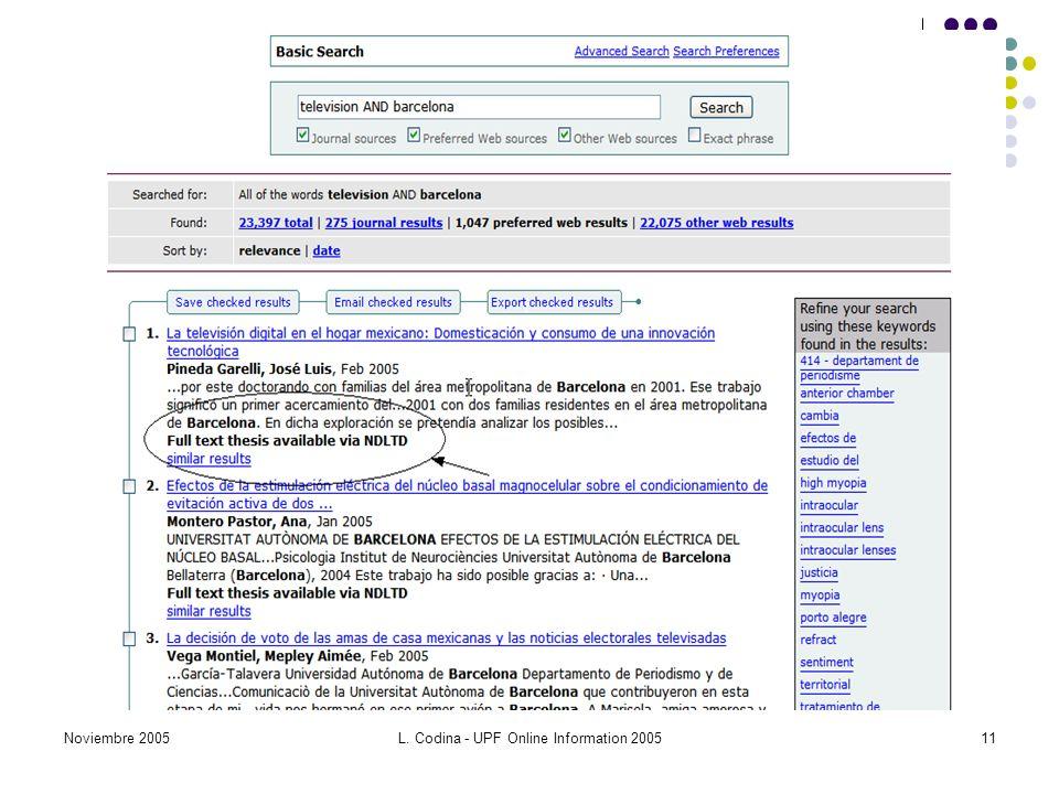 Noviembre 2005L. Codina - UPF Online Information 200511