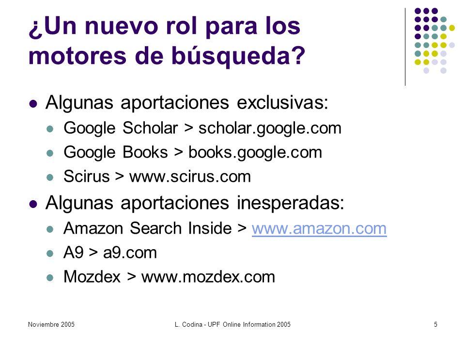 Noviembre 2005L.Codina - UPF Online Information 20055 ¿Un nuevo rol para los motores de búsqueda.