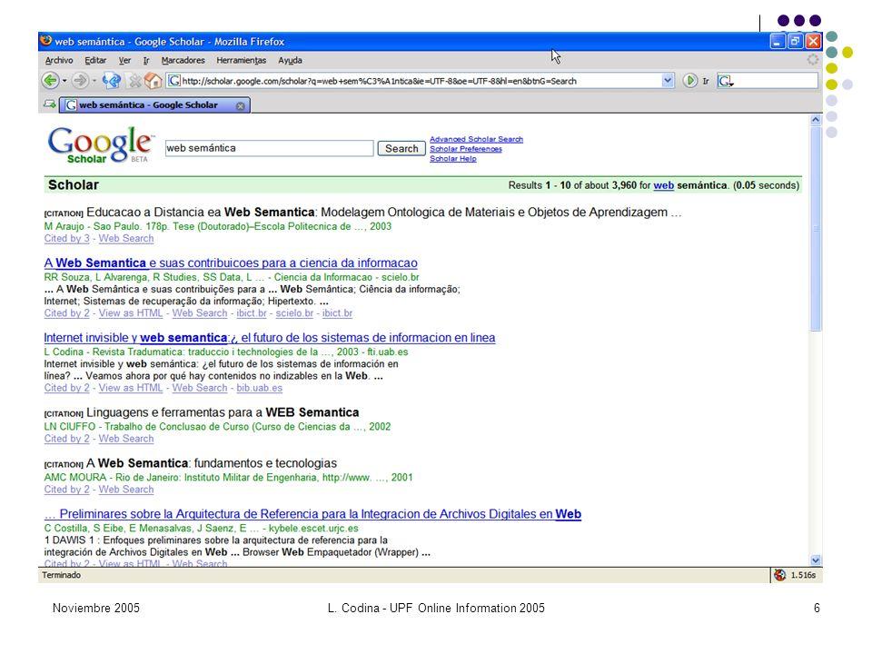 Noviembre 2005L. Codina - UPF Online Information 20056