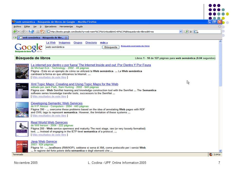 Noviembre 2005L. Codina - UPF Online Information 20057