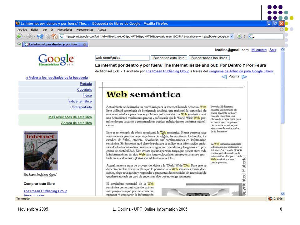 Noviembre 2005L. Codina - UPF Online Information 20058