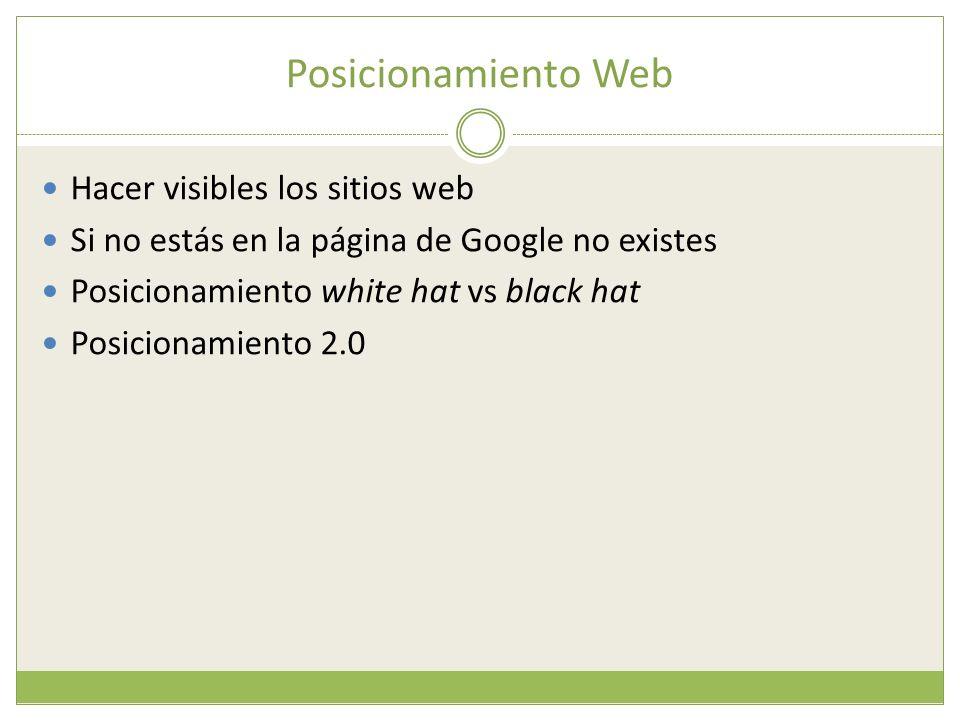 Posicionamiento Web Hacer visibles los sitios web Si no estás en la página de Google no existes Posicionamiento white hat vs black hat Posicionamiento