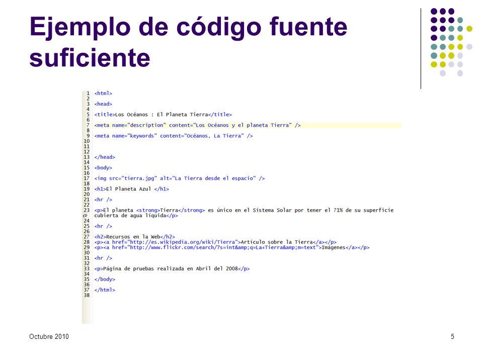Ejemplo de código fuente suficiente Octubre 20105