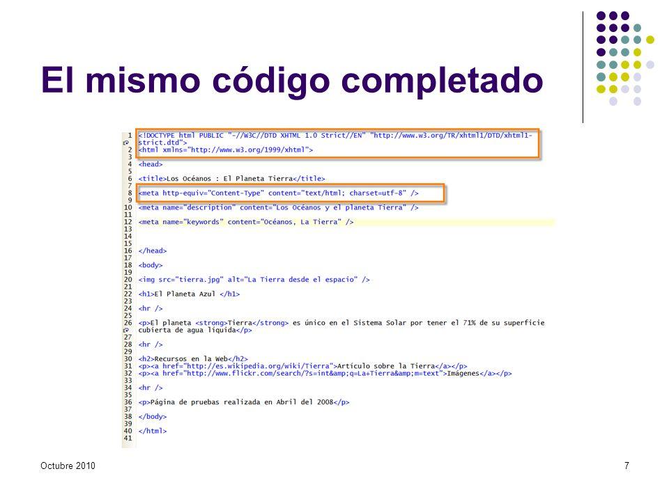 El mismo código completado Octubre 20107