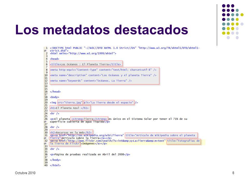 Matadatos más importantes Elemento en Elementos con atributos name y content en Ejemplo: Atributo title en elementos (enlaces) Atributo alt en elementos Octubre 20109