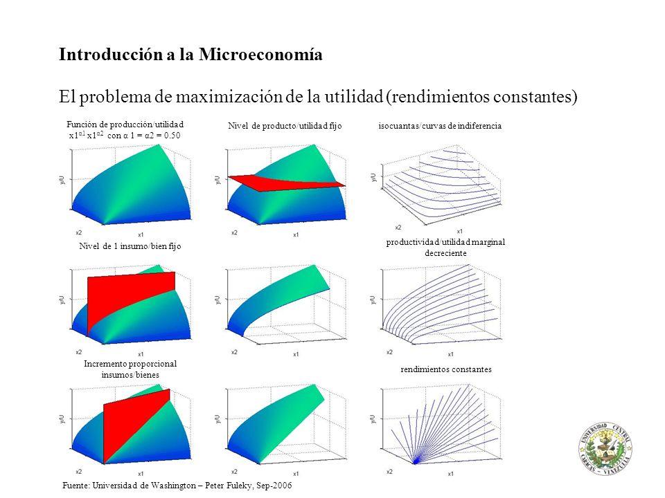 Introducción a la Microeconomía El problema de maximización de la utilidad (rendimientos constantes) Nivel de 1 insumo/bien fijo productividad/utilida