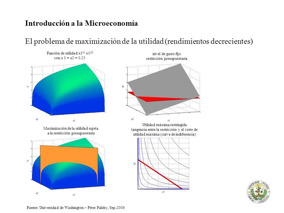 Introducción a la Microeconomía El problema de maximización de la utilidad (rendimientos decrecientes) Función de utilidad x1 α1 x1 α2 con α 1 = α2 =
