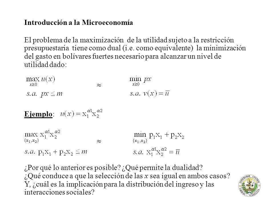 Introducción a la Microeconomía El problema de la maximización de la utilidad sujeto a la restricción presupuestaria tiene como dual (i.e. como equiva