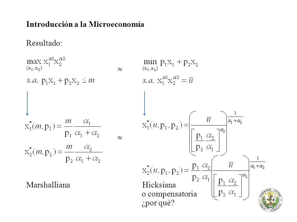 Introducción a la Microeconomía Resultado: Marshalliana Hicksiana o compensatoria ¿por qué?