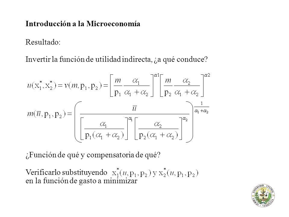 Introducción a la Microeconomía Resultado: Invertir la función de utilidad indirecta, ¿a qué conduce? ¿Función de qué y compensatoria de qué? Verifica