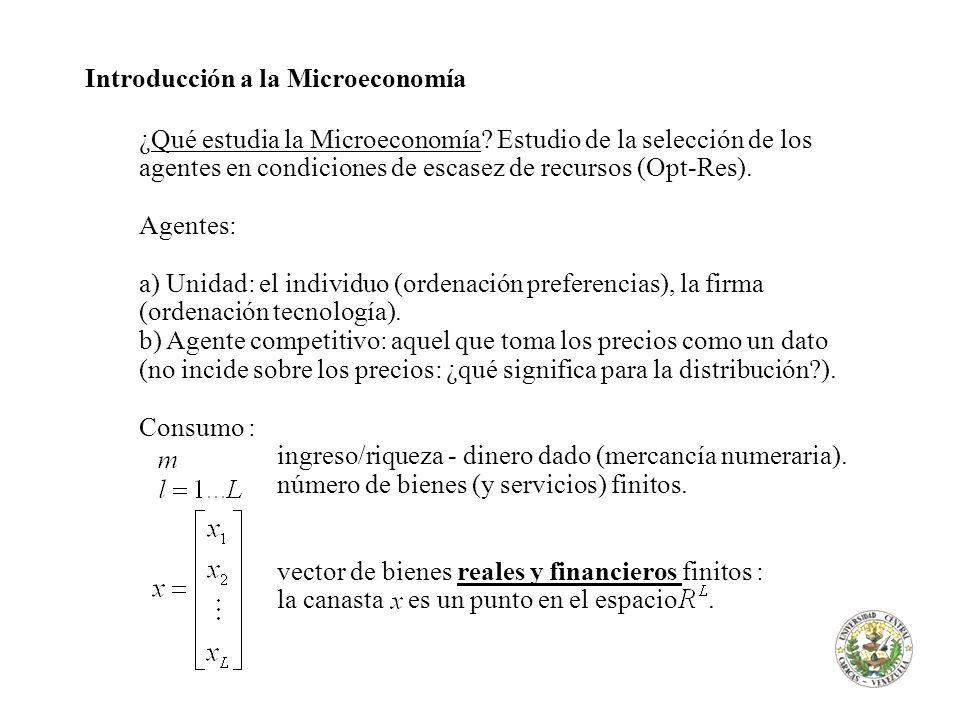Introducción a la Microeconomía ¿Qué estudia la Microeconomía? Estudio de la selección de los agentes en condiciones de escasez de recursos (Opt-Res).