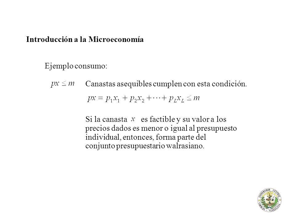 Introducción a la Microeconomía Ejemplo consumo: Canastas asequibles cumplen con esta condición. Si la canasta es factible y su valor a los precios da