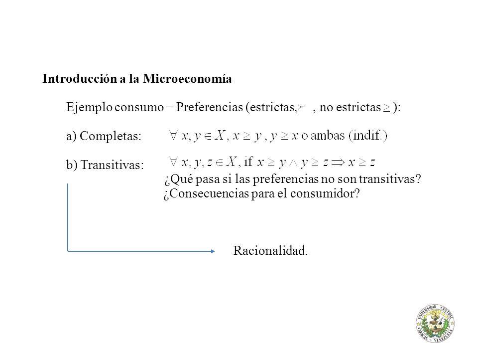 Introducción a la Microeconomía Ejemplo consumo Preferencias (estrictas,, no estrictas ): a) Completas: b) Transitivas: ¿Qué pasa si las preferencias