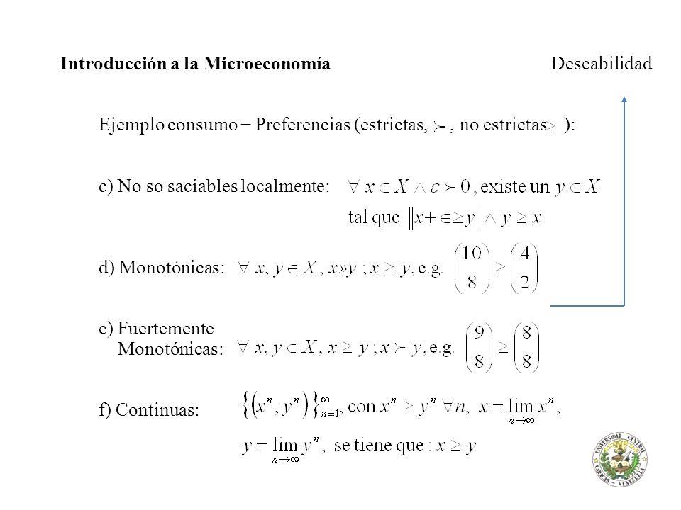 Introducción a la Microeconomía Deseabilidad Ejemplo consumo Preferencias (estrictas,, no estrictas ): c) No so saciables localmente: d) Monotónicas: