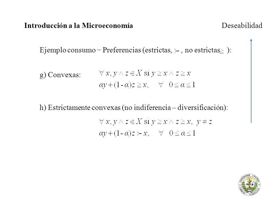 Introducción a la Microeconomía Deseabilidad Ejemplo consumo Preferencias (estrictas,, no estrictas ): g) Convexas: h) Estrictamente convexas (no indi