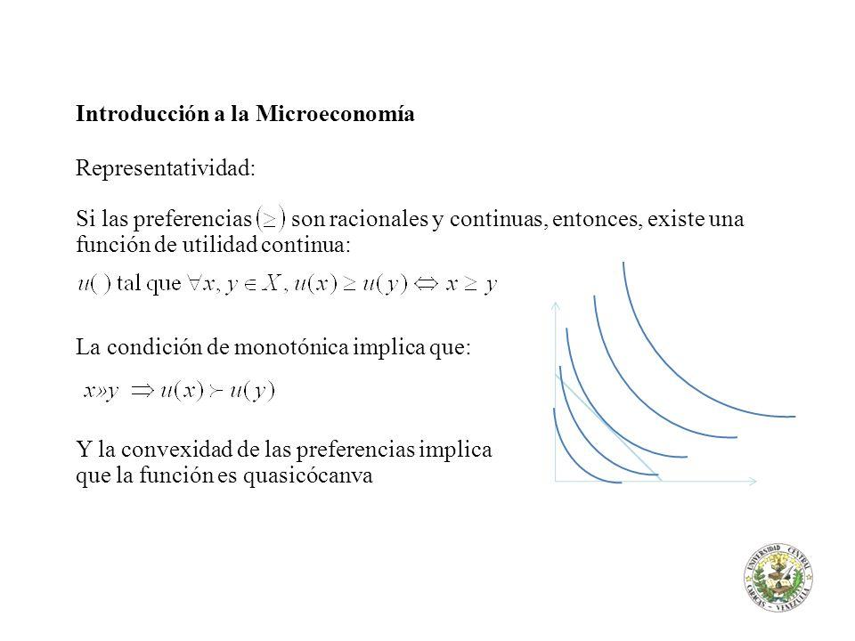 Introducción a la Microeconomía El problema de maximización de la utilidad Propiedades de la solución (¿a qué tipo de funciones conduce?): 1)Existencia (conjunto no vacío): 2)Homogeneidad : 3)Ley de Walras: 4)Convexidad: si son convexas, también lo es.
