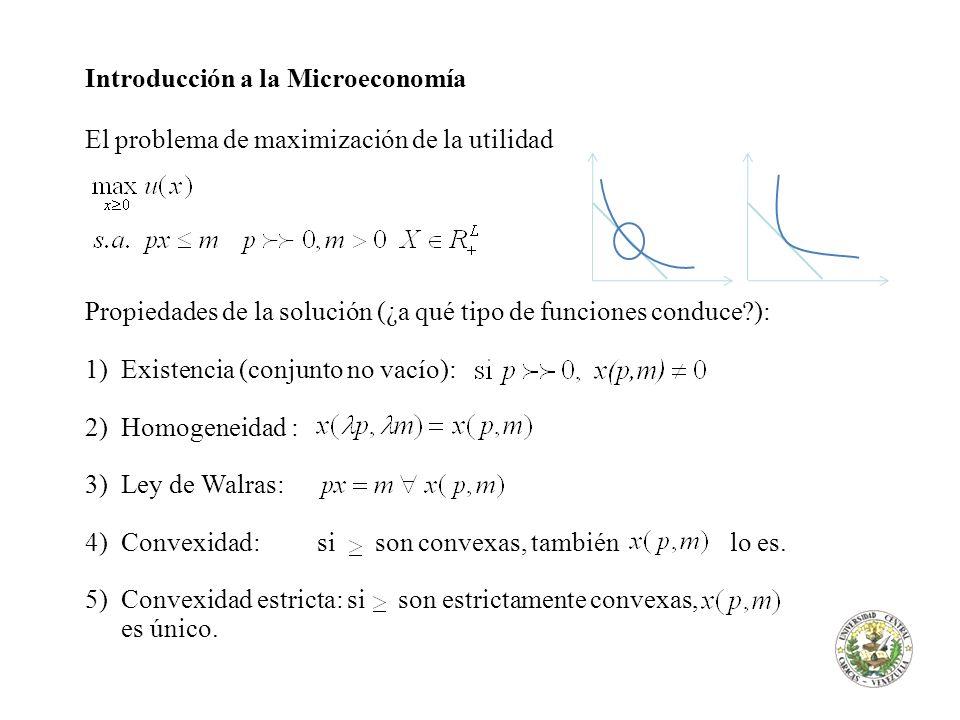 Introducción a la Microeconomía El problema de maximización de la utilidad Propiedades de la solución (¿a qué tipo de funciones conduce?): 1)Existenci