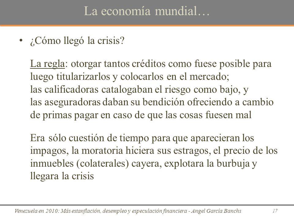 La economía mundial… ¿Cómo llegó la crisis.