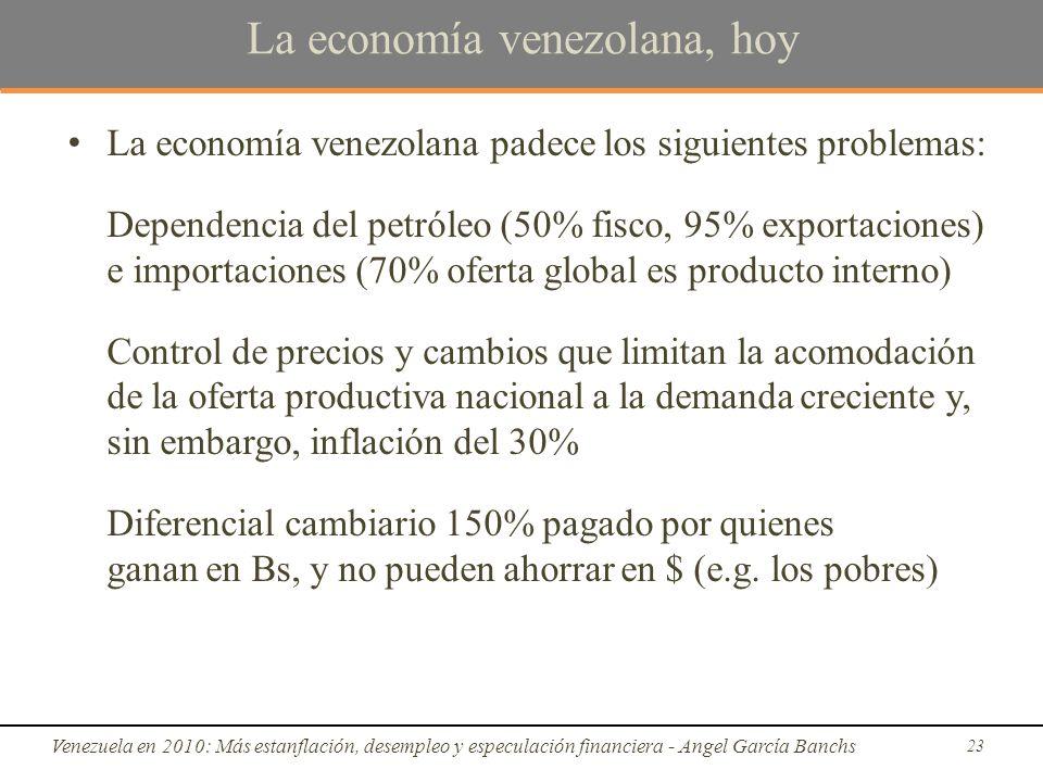 La economía venezolana, hoy La economía venezolana padece los siguientes problemas: Dependencia del petróleo (50% fisco, 95% exportaciones) e importaciones (70% oferta global es producto interno) Control de precios y cambios que limitan la acomodación de la oferta productiva nacional a la demanda creciente y, sin embargo, inflación del 30% Diferencial cambiario 150% pagado por quienes ganan en Bs, y no pueden ahorrar en $ (e.g.