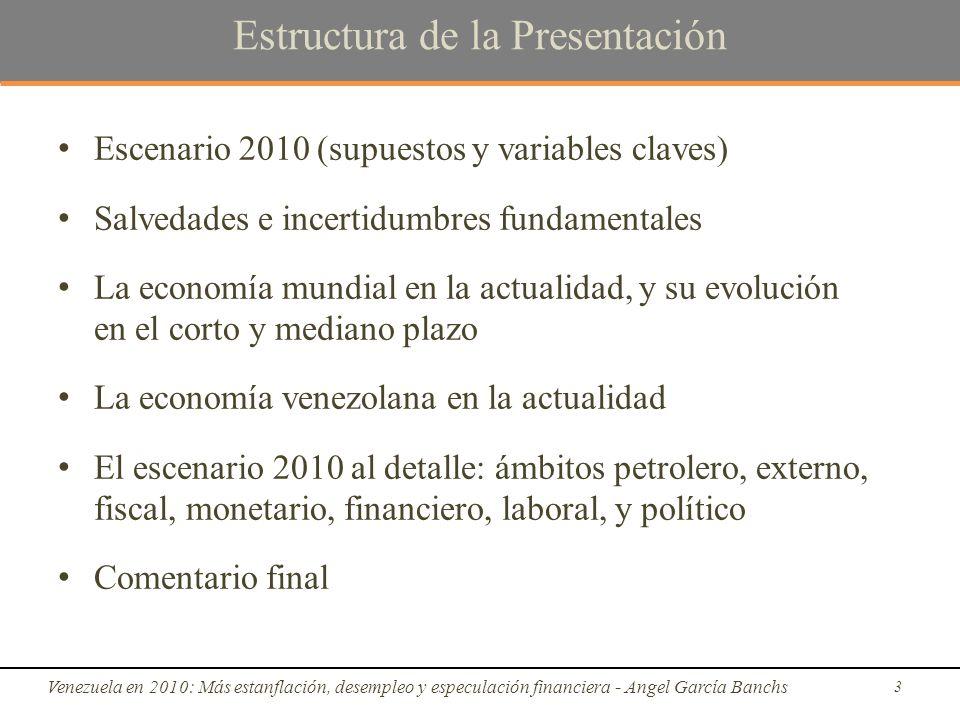 Escenario 2010: ámbito externo Venezuela en 2010: Más estanflación, desempleo y especulación financiera - Angel García Banchs 34 Fuente: BCV y cálculos propios