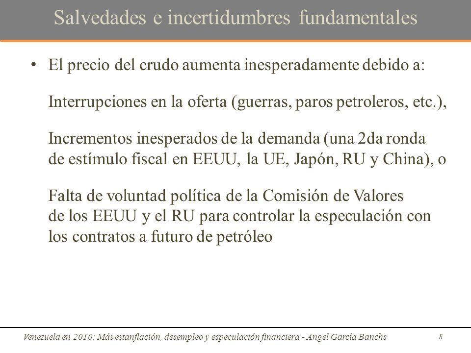 Escenario 2010: ámbito real Venezuela en 2010: Más estanflación, desempleo y especulación financiera - Angel García Banchs 29 Fuente: BCV y cálculos propios -7.8%18.3%-1.5%