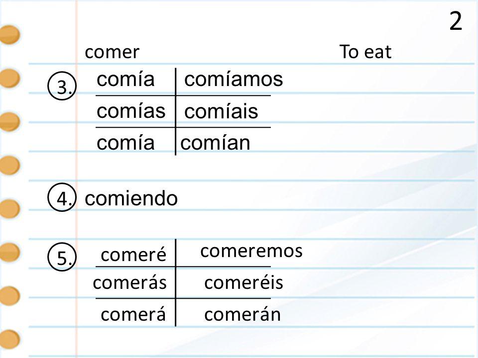 2 To eatcomer 3. comía comías comía comíamos comían comíais 4. comiendo 5. é ás á emos éis án comer