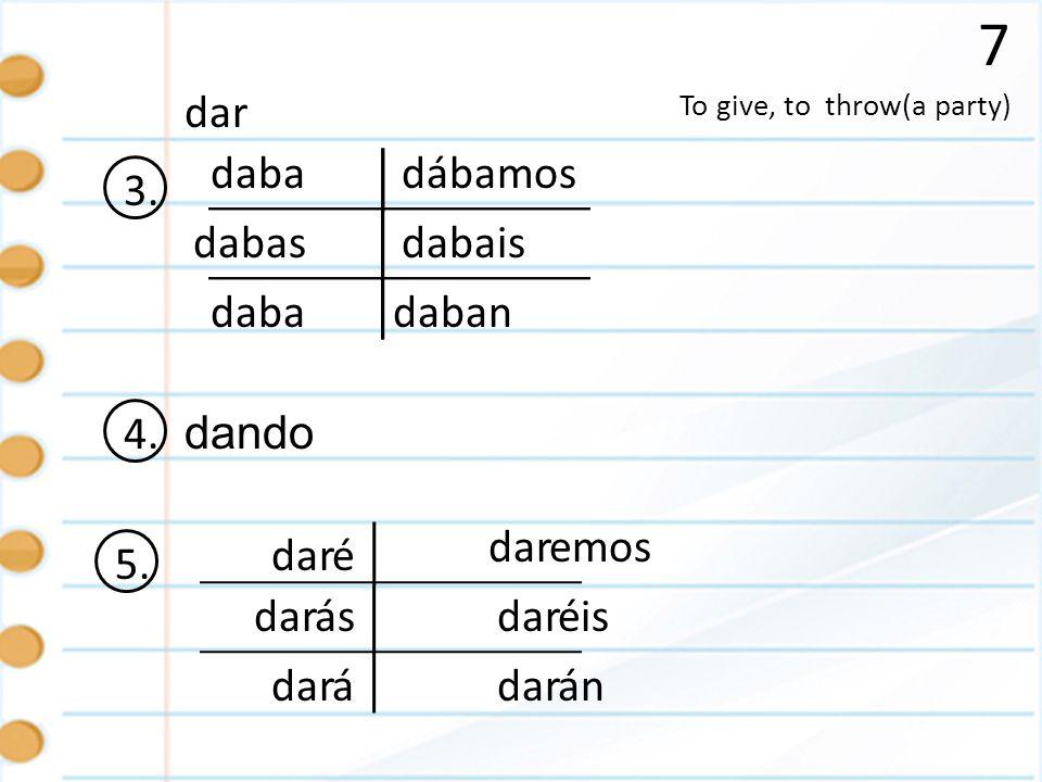 7 To give, to throw(a party) dar 3. daba dabas daban dábamos dabais 4. dando 5. é ás á emos éis án dar