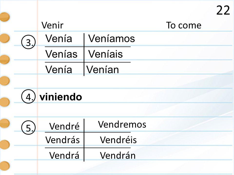 22 To comeVenir 3. Venía Venías Venía Veníamos Venían Veníais 4. viniendo 5. é ás á emos éis án Vendr