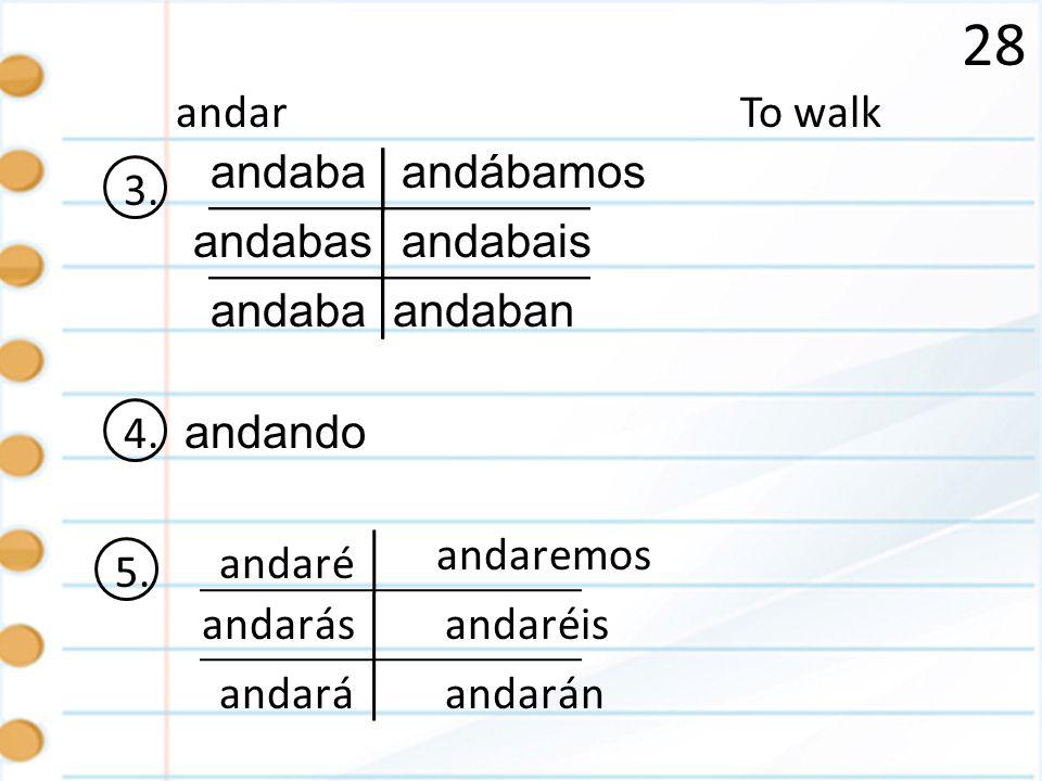 28 To walkandar 3. andaba andabas andaban andábamos andabais 4. andando 5. é ás á emos éis án andar