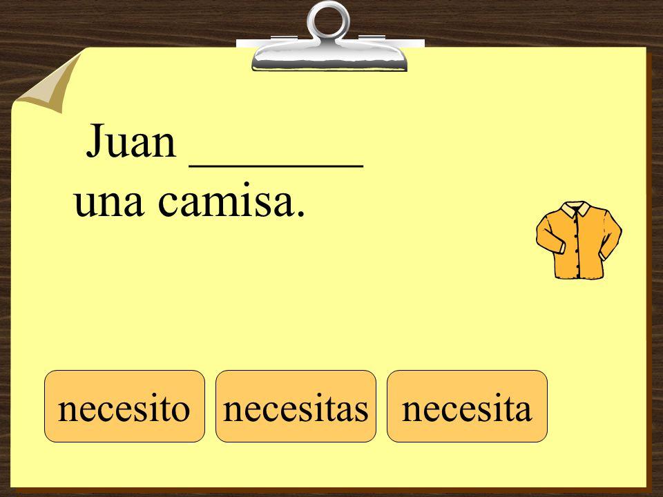 Juan _______ una camisa. necesitonecesitasnecesita
