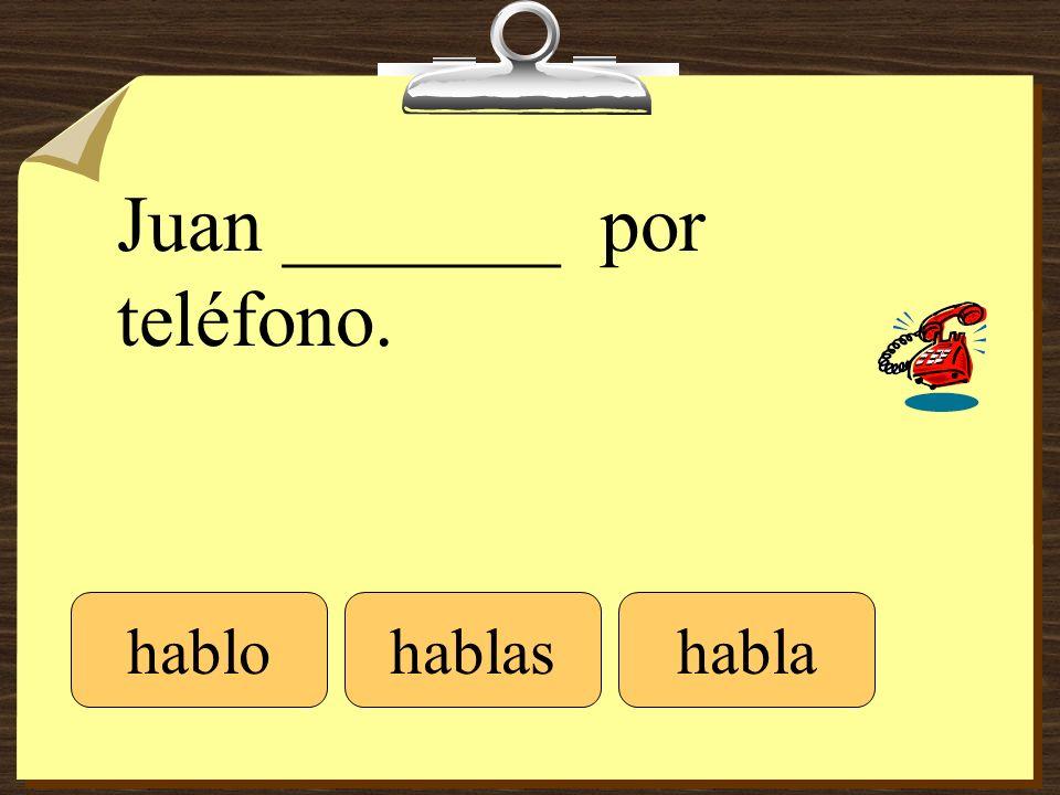 Juan _______ por teléfono. hablohablashabla
