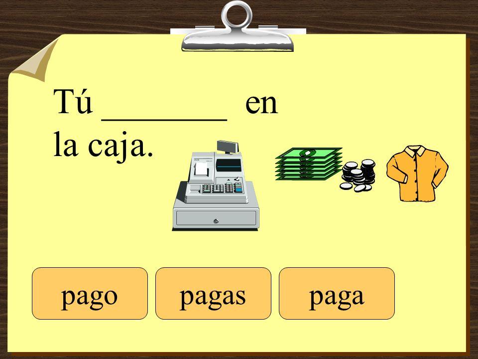 Tú _______ en la caja. pagopagaspaga