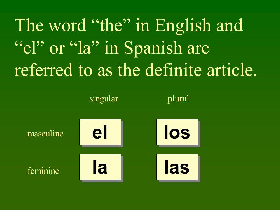 The word the in English and el or la in Spanish are referred to as the definite article. singularplural masculine feminine el la los las