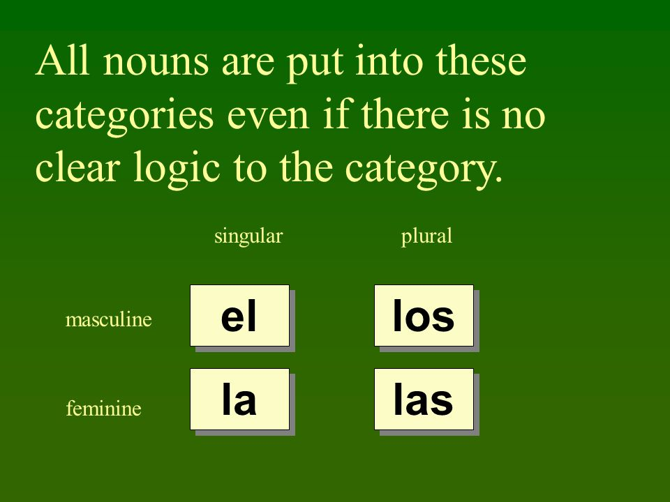 All nouns are put into these categories even if there is no clear logic to the category. singularplural masculine feminine el la los las