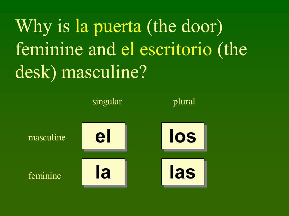 Why is la puerta (the door) feminine and el escritorio (the desk) masculine? singularplural masculine feminine el la los las