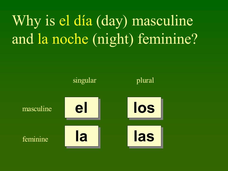 Why is el día (day) masculine and la noche (night) feminine? singularplural masculine feminine el la los las