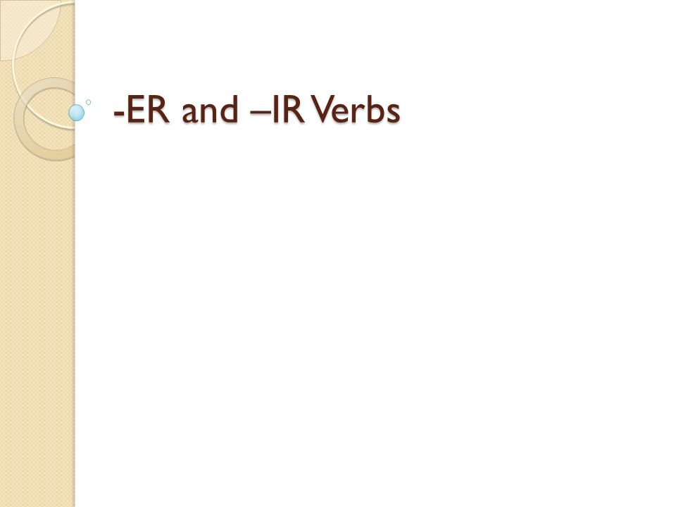 Review Verb Infinitive Conjugate Subject Conjugations Subject pronouns a part of speech indicating action an unchanged verb.