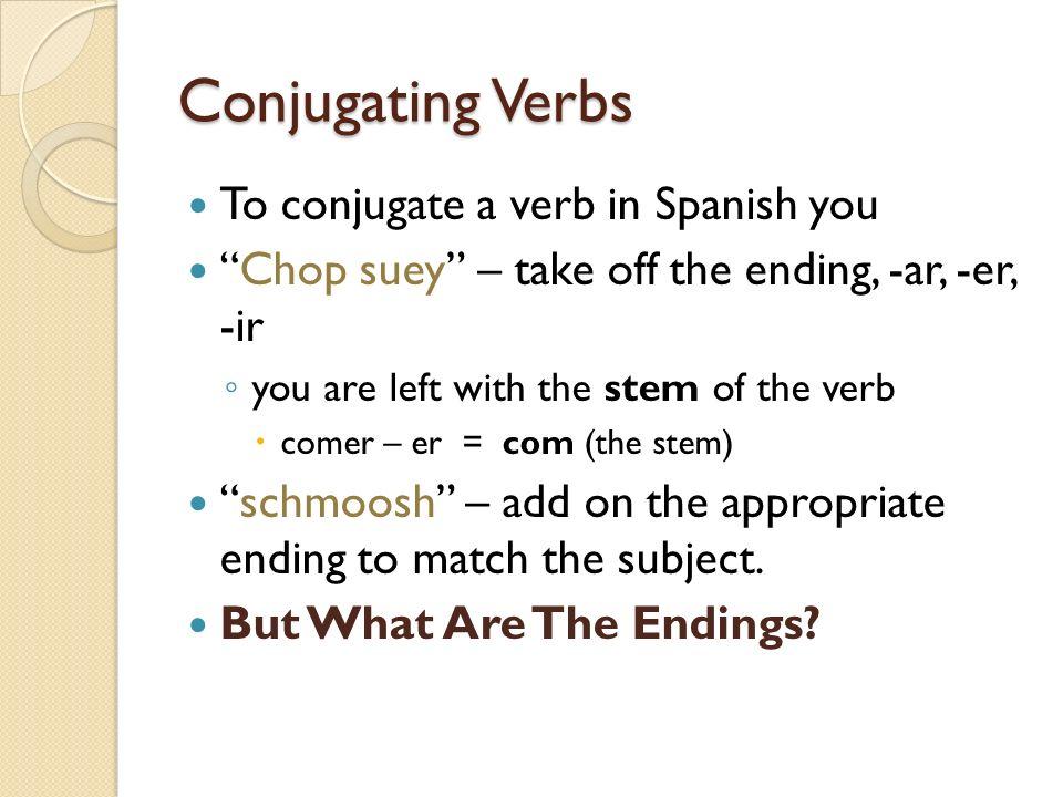 -ER and –IR verb endings Yo Tú Él, ella, Ud.Nosotros Ellos, Ellas, Uds.
