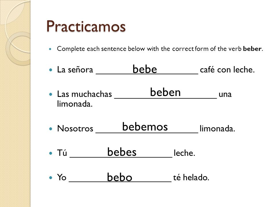 Practicamos Complete each sentence below with the correct form of the verb escribir.