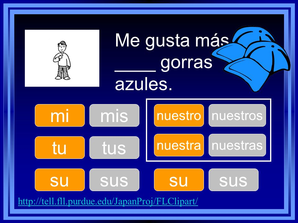mi tu su nuestro su nuestra Me gusta más ____ gorras azules. mis tus sus nuestros sus nuestras http://tell.fll.purdue.edu/JapanProj/FLClipart/