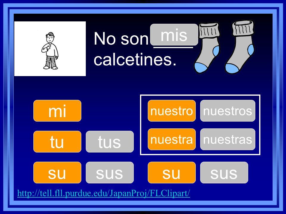No son ____ calcetines. tu su nuestro su nuestra mi mis tus sus nuestros sus nuestras http://tell.fll.purdue.edu/JapanProj/FLClipart/