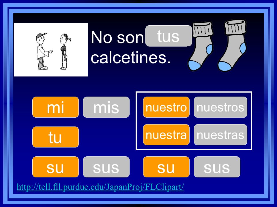 No son ____ calcetines. tu su nuestro su nuestra mimis tus sus nuestros sus nuestras http://tell.fll.purdue.edu/JapanProj/FLClipart/