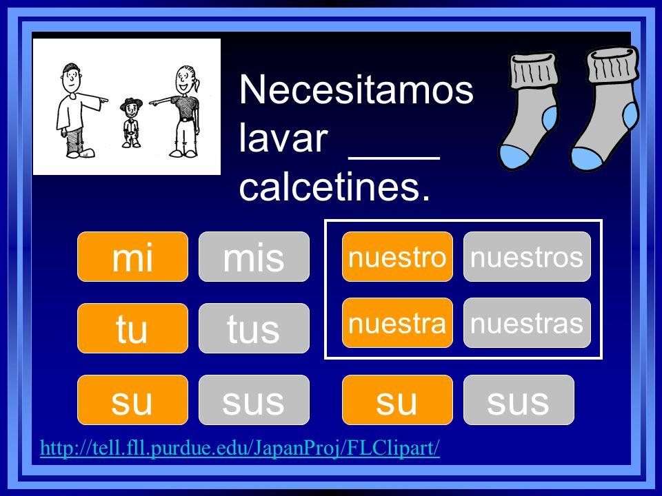Necesitamos lavar ____ calcetines. tu su nuestro su nuestra mimis tus sus nuestros sus nuestras http://tell.fll.purdue.edu/JapanProj/FLClipart/