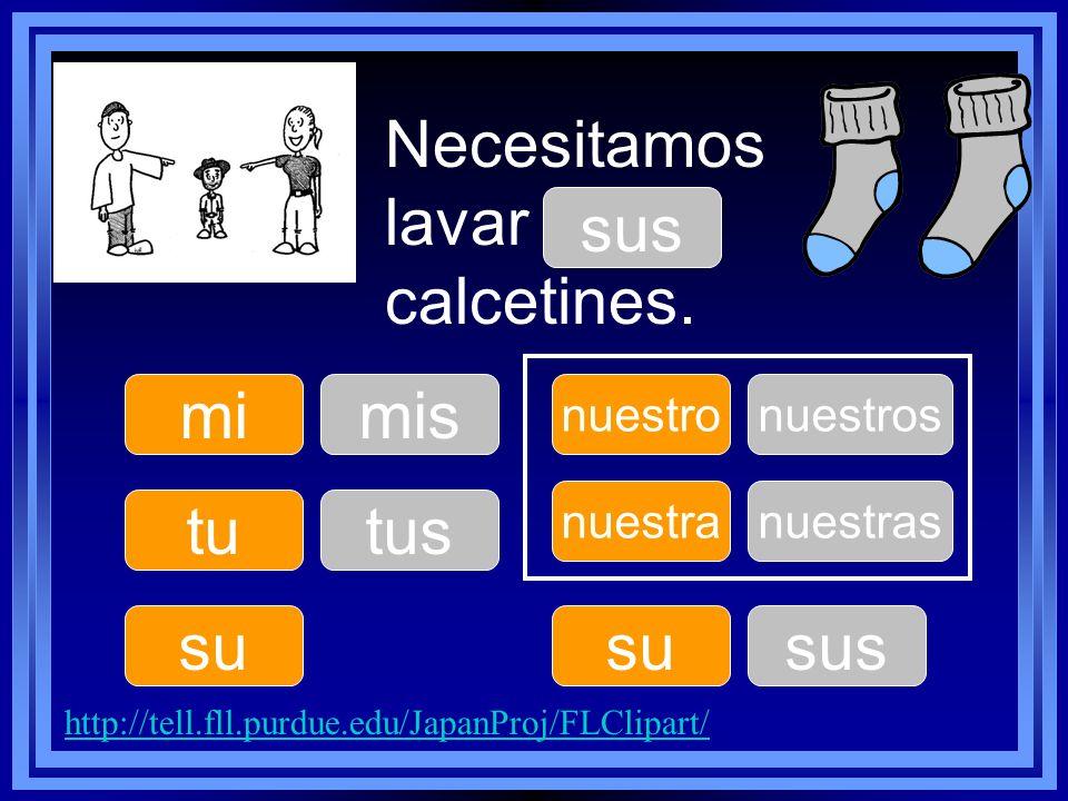 Necesitamos lavar ____ calcetines. tu su nuestro su nuestra mimis tus nuestros sus nuestras http://tell.fll.purdue.edu/JapanProj/FLClipart/ sus