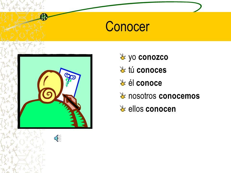 Heres a second helping! > conocer yo ______ tú ______ él ______ nosotros ______ ellos ______